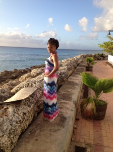 Enjoying the view from Speightown boardwalk, Barbados.