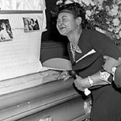 Emmett Till's mom Mamie Carthan Till at his funeral. (Photo credit Google Images)