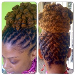 """September 2008: For my sis Rosie's wedding in Barbados. My stylist Joyce put my hair in this up do and coiled the ends so when I open it up for the wedding, it'd be """"spiraled""""."""