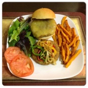 My homemade ground turkey burgers on my freshly baked homemade Bajan saltbread, with homemade sweet potato fries and a side salad.