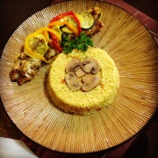 My home-cooked couscous with baked red snapper, with zucchini and squash.