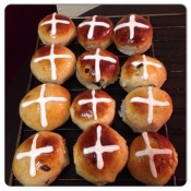 My homemade cross buns fresh out of the oven.