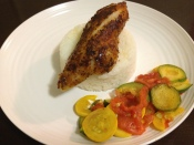 My home-cooked Jasmine rice with pan seared tilapia, sa