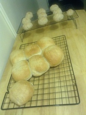 My freshly baked homemade Bajan salt bread and Caribbean coconut drops.