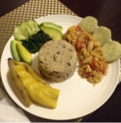 My home-cooked salt fish/cod fish cook up with brown rice & black eye peas, steamed sweet plantain, steamed sweet potato, spinach, avocado, cucumber.
