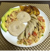 My homemade saltfish/cod fish cook up with Jamaican dumplings, green bananas, sweet plantains and avocado.