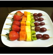 My fresh homemade fruit kebabs