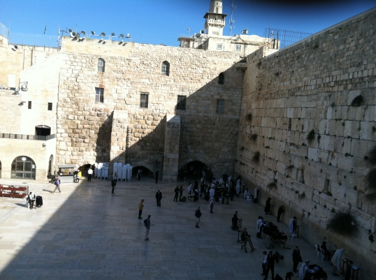 The Western Wall in the Old City of Jerusalem - one of the most sacred sites of the Jewish faith. My colleagues and I folded pieces of paper with our prayers and placed them here.