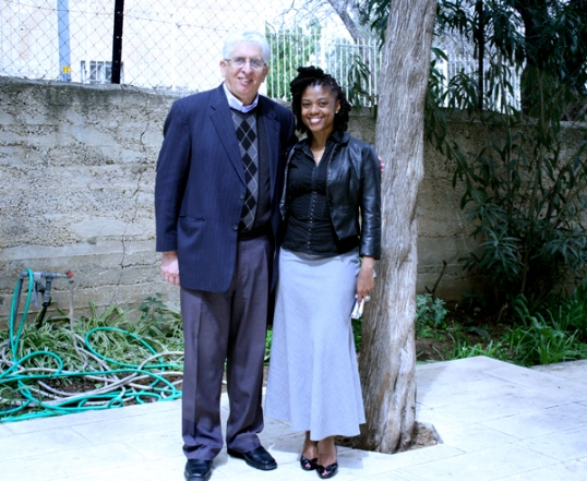 With Pastor Alex Awad outside of his East Jerusalem Baptist Church. Awad's family is one where members where expelled from Israel.