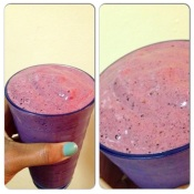 My homemade post workout berries and protein smoothie.