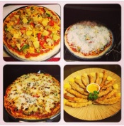My homemade veggie pizza and fish sticks.